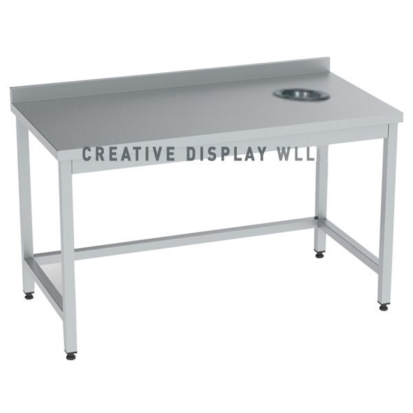 Work Top Table With Scrapping Hole 150cm