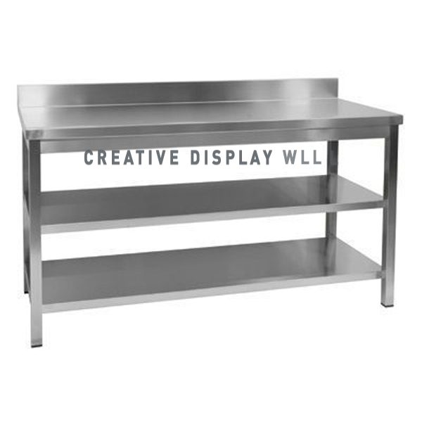 Work Top Table With 2 Under Shelf 200cm